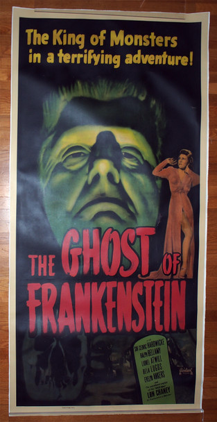 GHOST OF FRANKENSTEIN, THE (1942) 29462  Re-release Poster On Linen from 1948  Fine to Fine Plus Condition Original Three Sheet Poster from the Realart Re-release of 1948  Linen-Backed  Fine Plus