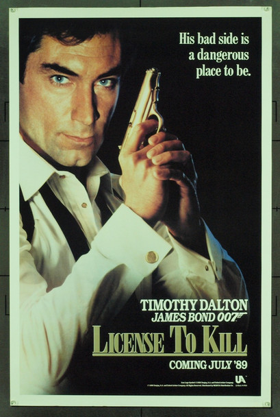 LIVING DAYLIGHTS, THE (1987) 629  Movie Poster  Timothy Dalton as James Bond  Original U.S. One-Sheet Poster  Advance Style  Never Folded  Fine Plus Condition