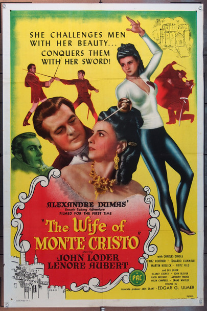 WIFE OF MONTE CHRISTO, THE (1946) 6624  Movie Poster  Edgar Ulmer Original U.S. One-Sheet (27x41) Folded  Very Good Plus to Fine Condition