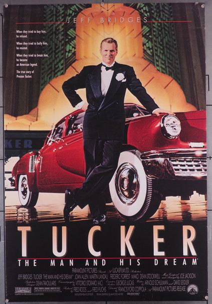 TUCKER:  THE MAN AND HIS DREAM (1988) 29508  Movie Poster (27x41) Rolled  Jeff Bridges   Francis Ford Coppola Original U.S. One-Sheet Poster (27x41)  Rolled Very Good Plus to Fine Condition
