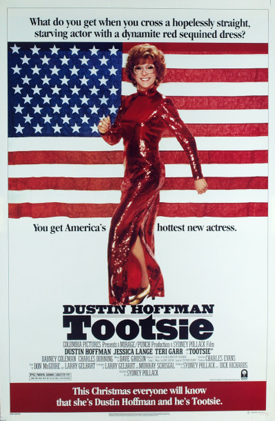 TOOTSIE (1983) 8210  Movie Poster (27x41) Rolled  Dustin Hoffman in Drag as Tootsie Original Columbia Pictures Advance One Sheet Poster (27x41).  Rolled.  Very Fine Plus Condition.