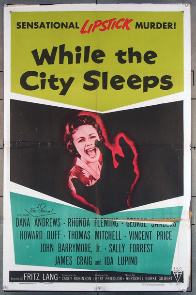 WHILE THE CITY SLEEPS (1956) 2932  Movie Poster   Film Noir Poster  27x41  Fritz Lang Director RKO Original U.S. One-Sheet Poster (27x41) Folded  Average Used