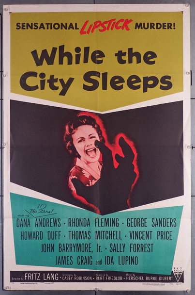 WHILE THE CITY SLEEPS (1956) 7388 Movie Poster (27x41)  Fritz Lang Directed  RHONDA FLEMING  DANA ANDREWS  IDA LUPINO  GEORGE SANDERS Original U.S. One-Sheet Poster (27x41)  Folded  Fine Condition