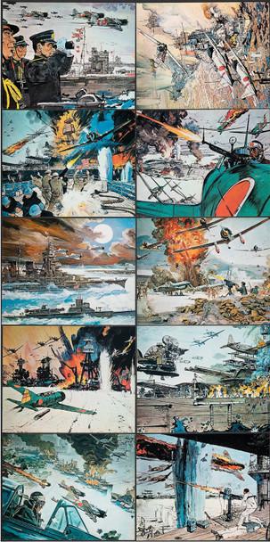 TORA! TORA! TORA! (1970) 4342  Original Set of 25 Color Lithographs (8x10)  Near Mint Condition  Art by Bob McCall Original Lithographic Photographs (8x10) 25 Individual Cards