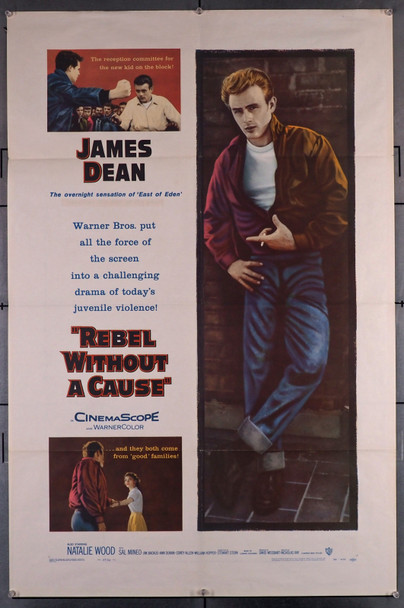 REBEL WITHOUT A CAUSE (1955) 29486  Movie Poster (27x41) Folded  Very Fine Plus Original U.S. One-Sheet Poster (27x41) Folded  Very Fine Plus Condition  James Dean Classic Poster