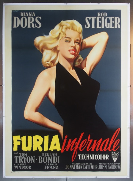 UNHOLY WIFE, THE (1957) 23037 Movie Poster  Italian 39x55 Linen-Baced  Diana Dors  Art by Giorgio Olivetti Italian RKO Release 39x55  Linen backed   Very Fine Plus