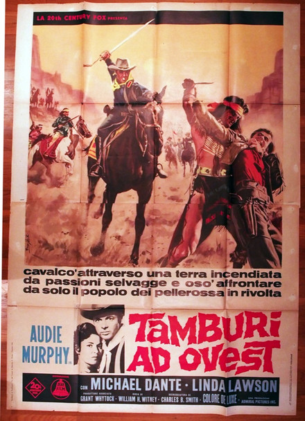 APACHE RIFLES (1964) 28926  Audie Murphy Movie Poster from Italy  55x79  Art by Enzo Nistri 20th Century Fox Original Italian 79x55 Poster  Folded   Very Good  Average Used