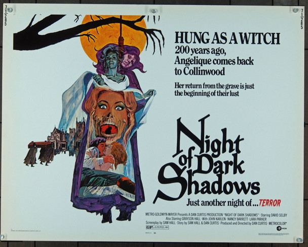 NIGHT OF DARK SHADOWS (1971) 915 Movie Poster  (22x28)  David Selby  Grayson Hall  Kate Jackson  David Thayer Original MGM Half Sheet Poster (22x28).  Unfolded.  Very Fine.