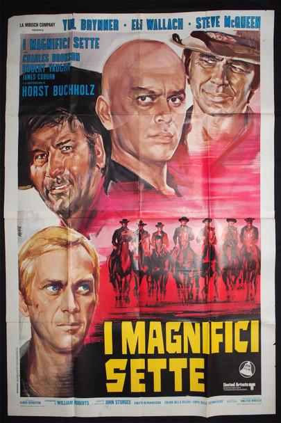 MAGNIFICENT SEVEN  (1960) 28931 Movie Poster  Italian 79x55  Re-release of 1970  Art by Tino Avelli United Artists Original Italian Four-Foglio  79x55  Re-release of 1970  Condition Fine Plus
