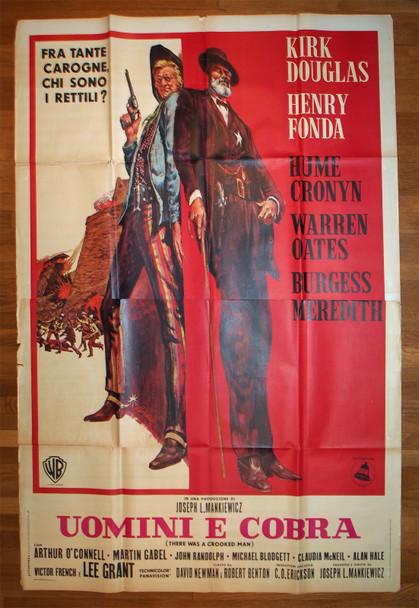 THERE WAS A CROOKED MAN (1970) 28937  Movie Poster  Italian 79x55  Kirk Douglas  Henry Fonda  Joseph L. Mankiewicz Original Italian 79x55 Poster  Folded  Average Used Condition   Art by Stirnweis