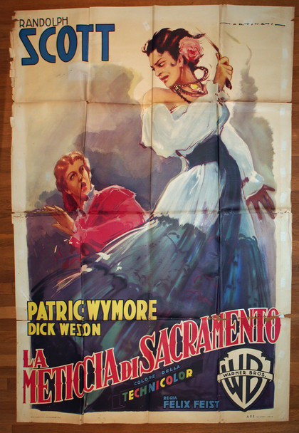 MAN BEHIND THE GUN, THE (1952) 28932  Movie Poster  Italian 79x55  Patricie Wymore   Dick Wesson  Felix Feist  Art by Luigi Martinati Original Italian 79x55 Poster  Folded   Theater-Used  Fair Condition Only