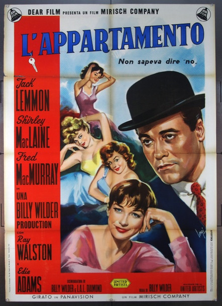 """APARTMENT, THE (1960) 24088  Italian 39x55 Poster Original  Jack Lemmon  Shirley MacLaine  Fred McMurray   Billy Wilder Original Italian 2 sheet (39x55 called a """"due foglio"""").  Folded.  Fine Plus Condition"""