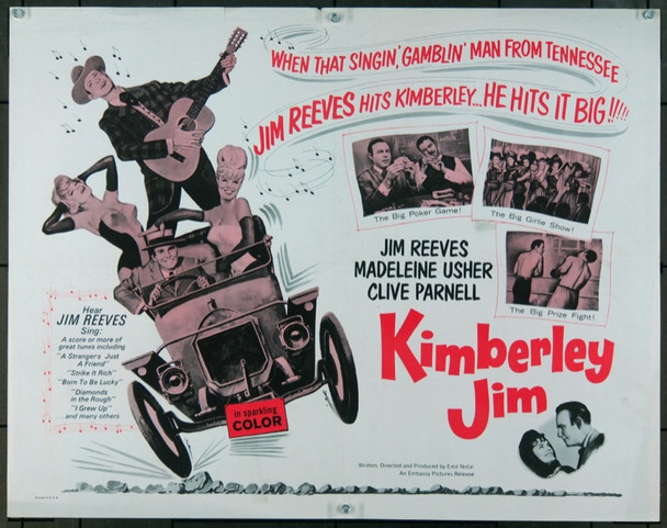 KIMBERLEY JIM (1965) 972  Movie Poster  Country legend Jim Reeves Embassy Pictures Half Sheet Poster    22x28  Fine Plus Condition