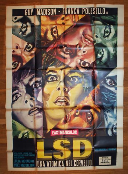 LSD-INFERNO PER POCHI DOLLARI (1967) 28930  Italian Movie Poster   Guy Madison   Franca Polesello  Art by Morini  Original Italian Four Foglio Poster 79x55  Folded in Average Used Condition