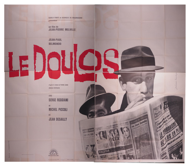 LE DOULOS (1963) 7825  Movie Poster   French 95x126  Jean-Paul Belmondo  Michel PIccolo   Jean-Pierre Melville Original French 95x126 Four Panel Poster  Fine Condition  Theater-Used