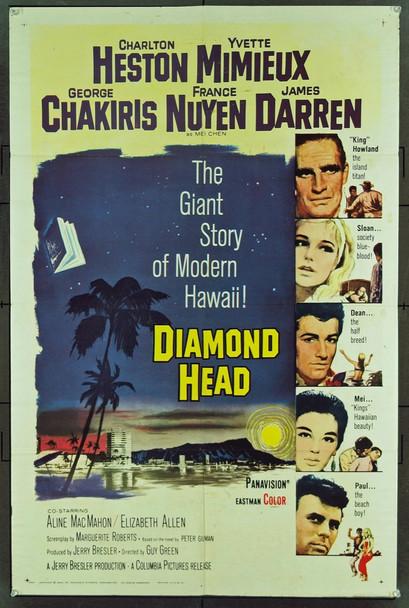 DIAMOND HEAD (1962) 11048  Movie Poster  27x41  Charlton Heston  France Nuyen  Yventte Mimieux  George Chakiris Original Columbia Pictures One Sheet Poster (27x41). Folded. Fine Plus Condition.
