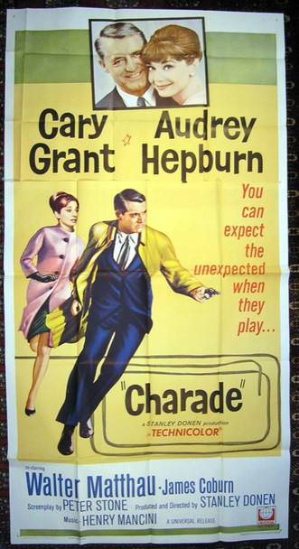 CHARADE (1963) 15762  Movie Poster (41x81)  Three-Sheet Poster  Audrey Hepburn   Cary Grant Original Universal Pictures Three Sheet Poster (41x81).   Folded . Fine Plus Condition