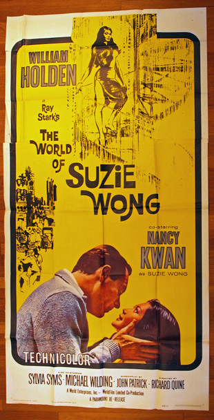 WORLD OF SUZIE WONG, THE (1960) 10544  Re-release of 1965  William Holden  Nancy Kwan  Richard Quine Original Three-Sheet Poster (41x81)  1965 Re-release Folded  Fine Plus Condition