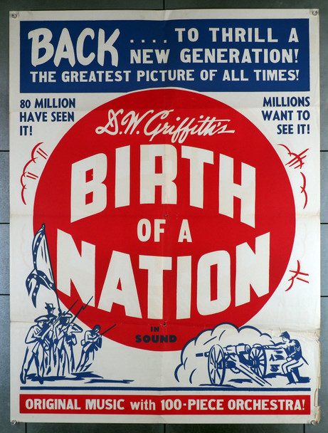 BIRTH OF A NATION (1915) 7554  Re-release 30x40 poster from the 1940s  D.W. Griffith Original Re-release 30x40 poster  D.W. Griffith