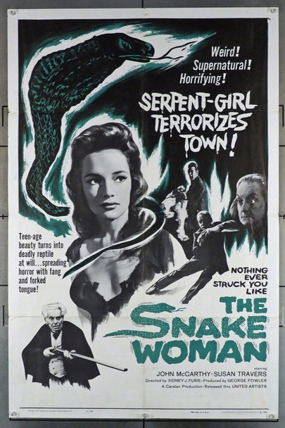 SNAKE WOMAN, THE (1961) 8975  Movie Poster  (27x41)  John McCarthy  Susan Travers   Sidney J. Furie  Horror Film  United Artists Original U.S. One Sheet Poster (27x41) Folded  Very Good Plus Condition