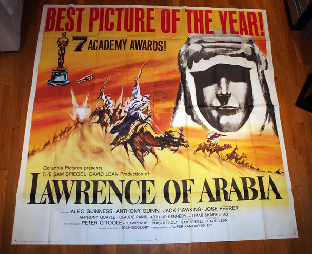 LAWRENCE OF ARABIA (1962) 15172  U.S. Six-Sheet Poster Style B dated 1963  Peter O'Toole  David Lean Original U.S. Six-Sheet Poster (81x81) First Release Academy Awards Printing  Dated 1963