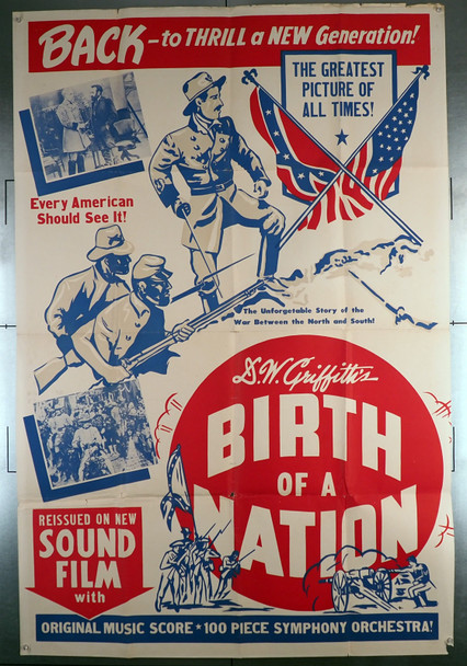 BIRTH OF A NATION (1915) 7555  Movie Poster  40x60 Re-release dating from 1930s - 1940s  D.W. Griffith Original Griffith Re-release poster (40x60)  Folded  Very Good Condition