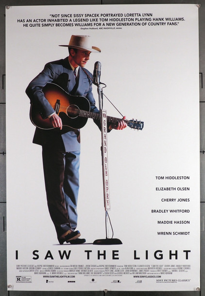 I SAW THE LIGHT (2015) 29542  Movie Poster   27x40  Rolled  Double Sided  Tim Hiddleston as Hank Williams Original U.S. One-Sheet Poster (27x40) Rolled  Very Fine
