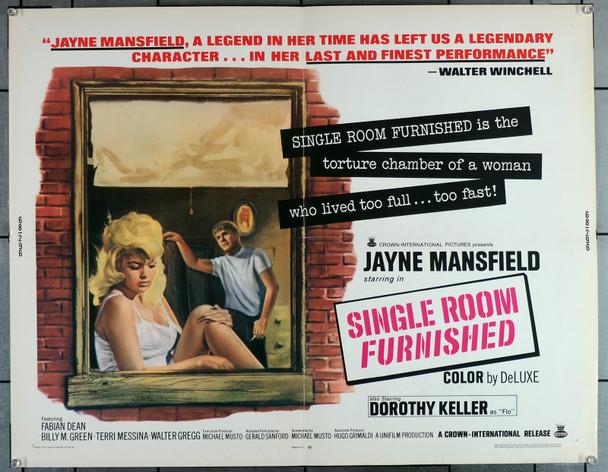 SINGLE ROOM FURNISHED (1966) 29530  Movie Poster  (22x28)  Jayne Mansfield  Fabian Dean   Matt Cimber Original U.S. Half-Sheet Poster (22x28) Originally Folded  Fine Plus Condition
