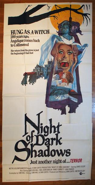 NIGHT OF DARK SHADOWS (1971) 9471  Movie Poster  Dan Curtis   David Selby   Grayson Hall   Kate Jackson Original MGM Three-sheet Poster (41x81) Folded  Very Fine Condition