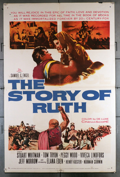 STORY OF RUTH, THE (1960) 11223  Movie Poster  (27x41)  Folded   Very Good Plus Condition  Elana Eden  Henry Koster   Stuart Whitman   Tom Tryon Original U.S. One-Sheet Poster (27x41)  Folded  Very Good Condition  Average Used