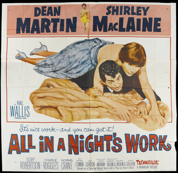ALL IN A NIGHT'S WORK (1960) 17511  Movie Poster  (81x81)  Folded  Average Used Condition Original U.S. Six-sheet Poster (81x81) Dean Martin  Shirley MacLaine