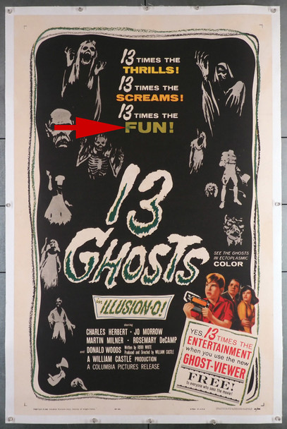 13 GHOSTS (1960) 3328  Movie Poster  (27X41)  Linen Backed Style B  William Castle  Director Original U.S. One-Sheet Poster (27x41)  Linen Backed in Fine Plus Condition