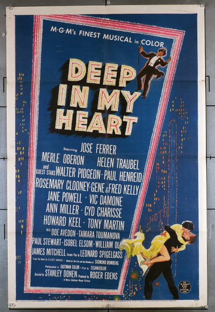 DEEP IN MY HEART (1954) 8605  Movie Poster (27x41) Jose Ferrer  Merle Oberon  Helen Traubel  Stanley Donen Original U.S. One-Sheet Poster (27x41) Folded  Fine Plus Condition