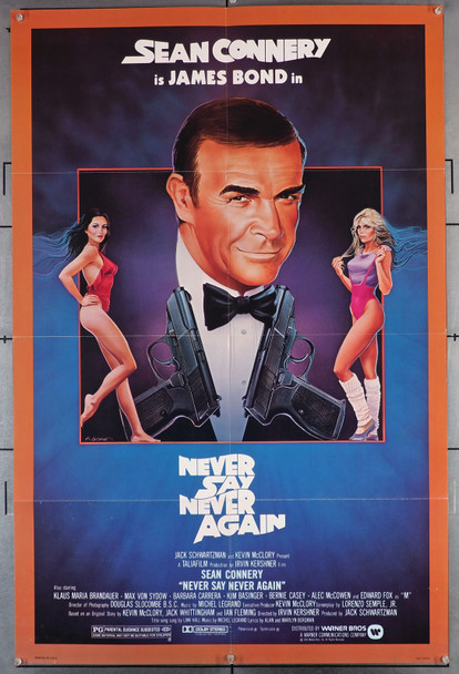 NEVER SAY NEVER AGAIN (1983) 1442  Movie Poster  U.S. One-Sheet  Folded  Very Fine  Sean Connery as James Bond Original U.S. One-Sheet Poster (27x41)  Folded  Very Fine Condition