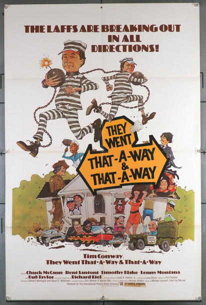 THEY WENT THAT-A-WAY & THAT-A-WAY (1978) 15666  Movie Poster  Tim Conway  Chuck McCann International Picture Show One-Sheet Poster (27x41) Folded  Very Good Condition  Theater Used