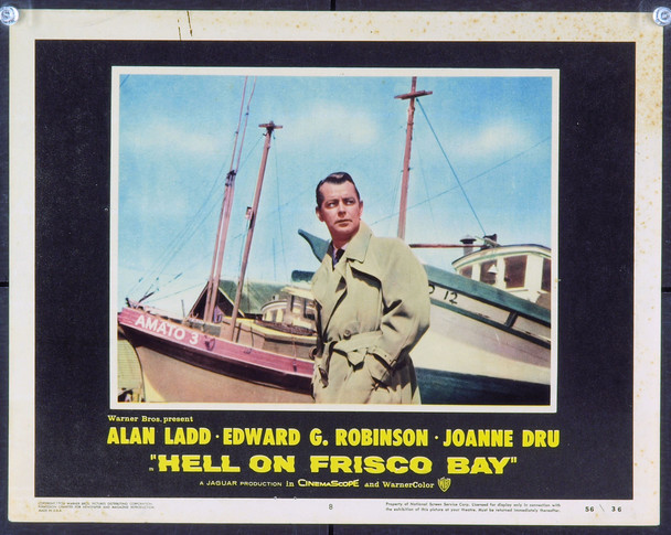 HELL ON FRISCO BAY (1956) 2456  Movie Poster  11x14 Lobby Card of Alan Ladd Original Warner Brothers Scene Lobby Card (11x14). Very Good Condition.