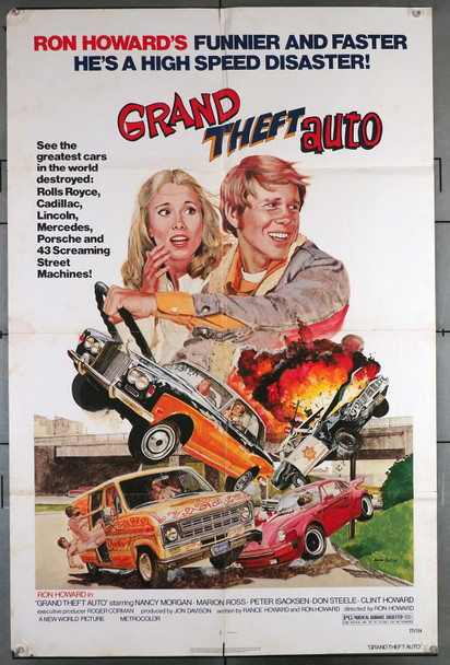GRAND THEFT AUTO (1977) 26212  Movie Poster (27x41)  Folded  Good Theater-Used Condition  RON HOWARD Original U.S. One-Sheet Poster (27x41) Folded  Theater-Used  Ron Howard  Art by John Solie