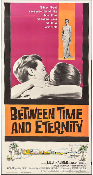 BETWEEN TIME AND ETERNITY (1960) 13082  Movie Poster  Lilli Palmer  Carlos Thompson   Folded Three-Sheet 41x81 Universal PIctures Original U.S. Three-Sheet Poster (41x81)  Theater Used  Average Used Condition