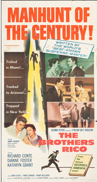 BROTHERS RICO, THE (1957) 13087  Movie Poster  (41x81)  Richard Conte  Dianne Foster  Phil Karlson Original U.S. Three-Sheet Poster (41x81) Folded  Theater Used  Average Condition