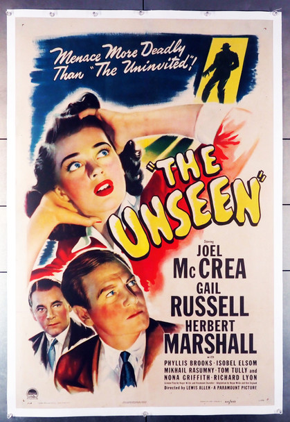 UNSEEN, THE (1945) 8359  One Sheet Movie Poster  Gail Russell  Joel McCrea  Lewis Allen Original U.S. One-Sheet Poster (27x41) Linen Backed  Fine Plus to Very Fine Condition