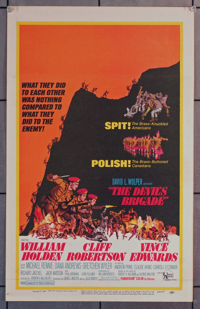 DEVIL'S BRIGADE, THE (1968) 21847  Window Card Movie Poster  14x22   Cliff Robertson   Vince Edward   William Holden Original United Artists Window Card (14x22). Very Good Condition