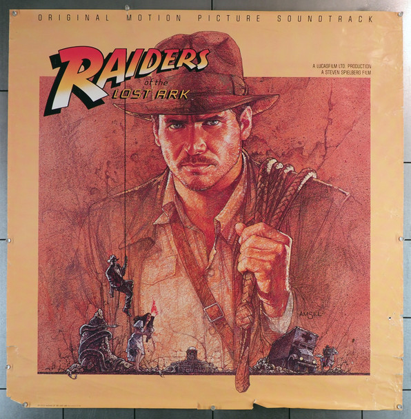 RAIDERS OF THE LOST ARK (1981) Soundtrack Record Poster from Columbia Records Original Columbia Records Promotion Poster (36x36) Rolled  Good Condition Only