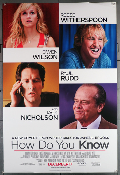 HOW DO YOU KNOW (2010) 29632  Movie Poster (27x40)  Reese Witherspoon  Paul Rudd  Owen Wilson   Jack Nicholson Original U.S. One-Sheet Poster (27x40)  Rolled  Double Sided  Very Good Plus Condition