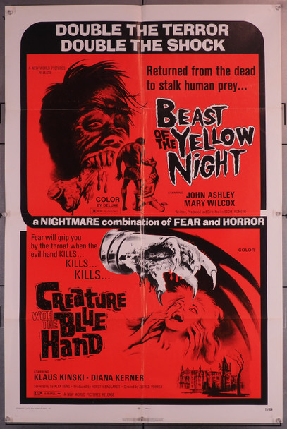 BEAST OF THE YELLOW NIGHT, THE (1971) 4216  Horror Movies Double Feature Poster (27x41) THE CREATURE WITH THE BLUE HAND New World Pictures Original U.S. One-Sheet Poster (27x41) Folded  Fine Plus Condition