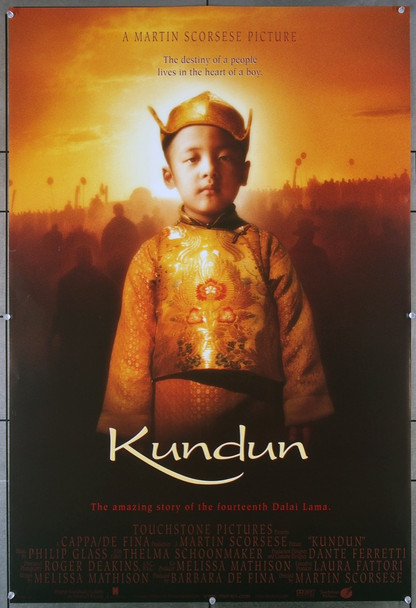 KUNDUN (1998) 19588  Rolled  Very Fine  U.S. One-Sheet Poster   Director Martin Scorsese Touchstone Pictures Original U.S. One-Sheet Poster (27x41) Double Sided  Very Fine Condition