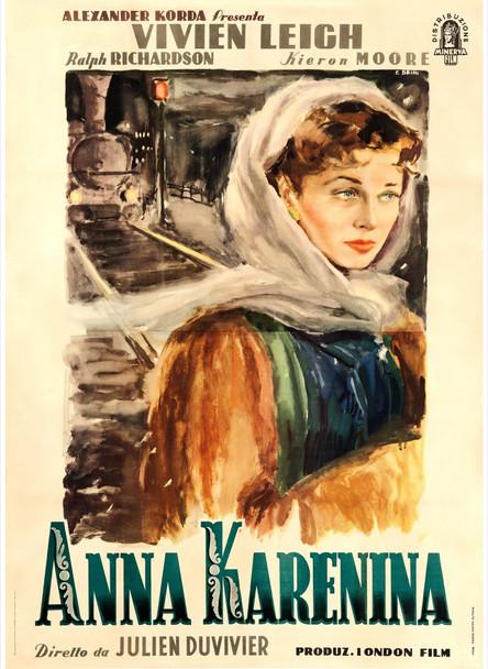ANNA KARENINA (1948) 27797  Linen-Backed  Italian Film Poster  79x55  Vivien Leigh   Art by Ercole Brini Minverva Film Original Italian Four-Foglio Poster (79x55) Linen-Backed  Fine to Very Fine Condition