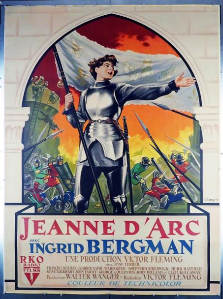 JOAN OF ARC (1948) 28802  French Grande Poster    Bernard Lancy Art of Ingrid Bergman  Stunning! Original French Grande Poster (47x63) LInen-Backed  Fine Plus Condition