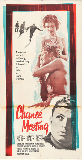 CHANCE MEETING (1960) 13126  Movie Poster (41x810  Hardy Kruger  Micheline Presle  Stanley Baker  Gordon Jackson   Joseph Losey Original U.S. Three-Sheet Poster (41x81)  Folded  Average Used Condition