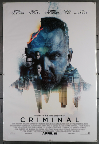 CRIMINAL (2016) 29631  Movie Poster (27x40)  Rolled Double-Sided  Kevin Costner  Gary Oldman  Tommy Lee Jones  Ariel Vromen Summit Entertainment Original U.S. One-Sheet Poster (27x40) Rolled  Very Good Plus