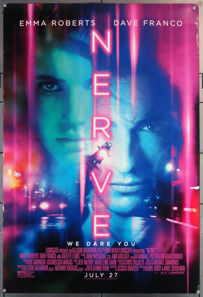 NERVE (2016) 29644  Movie Poster (27x40) Rolled  Double-Sided  Emma Roberts  Dave Franco Original U.S. One-Sheet Poster (27x40)  Rolled  Double-Sided  Fine Plus Condition